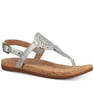 New!UGG Ayden Footbed logo slingback thong sandals